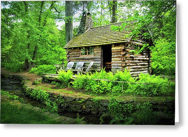 Log Cabin At Morris Arboretum Greeting Card