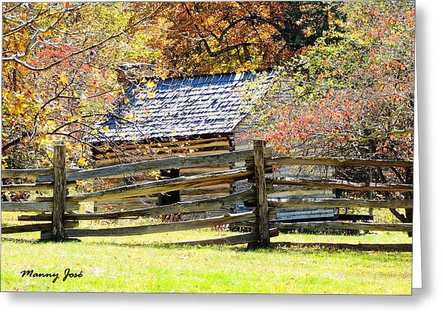 Log Cabin Blue Ridge Parkway Va Greeting Card by Manny Jose