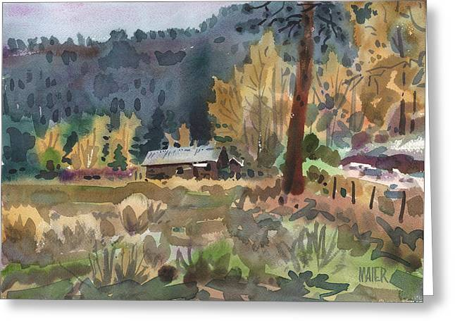 Log Cabin Greeting Card by Donald Maier