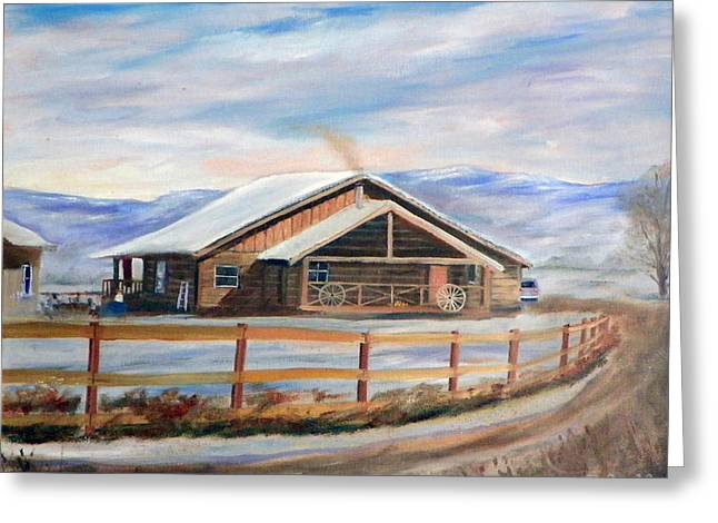 Greeting Card featuring the painting Log Cabin House In Winter by Sherril Porter