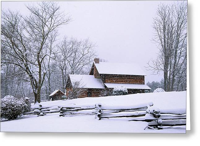 Log Cabin In Snow Greeting Card by Alan Lenk