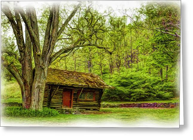 Log Cabin In The Woods Greeting Card by Geraldine Scull