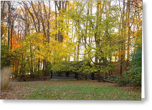 Log Cabin In Valley Forge - Autumn Greeting Card by Bill Cannon