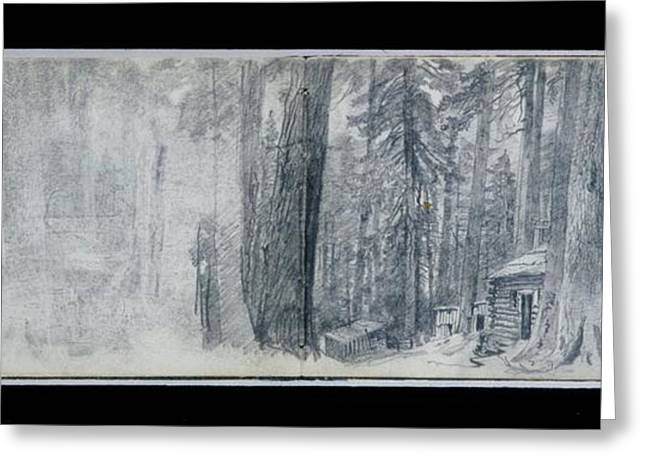 Log Cabin In Woods Greeting Card by MotionAge Designs