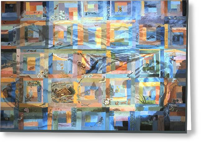 Greeting Card featuring the painting Log Cabin Quilt by Dawn Senior-Trask