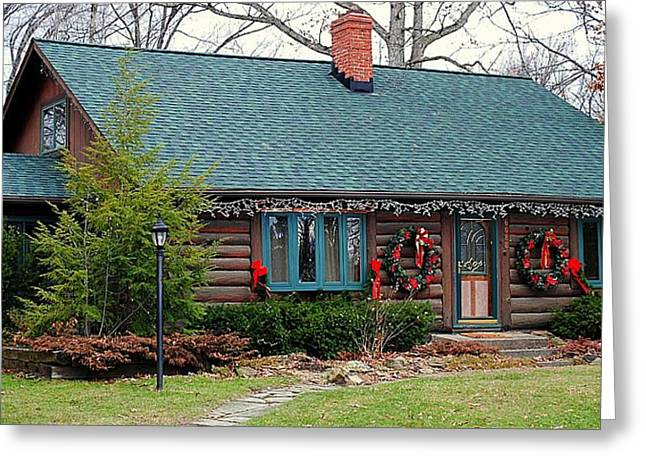 Log Cabin Greeting Card by Frozen in Time Fine Art Photography