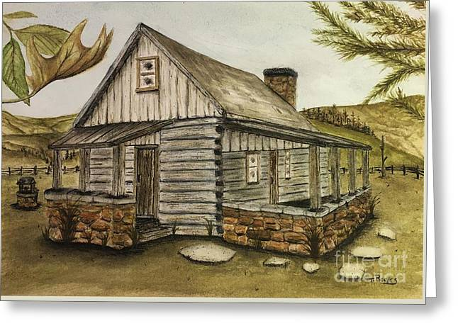 Log Cabin Greeting Card by Ted Reeves