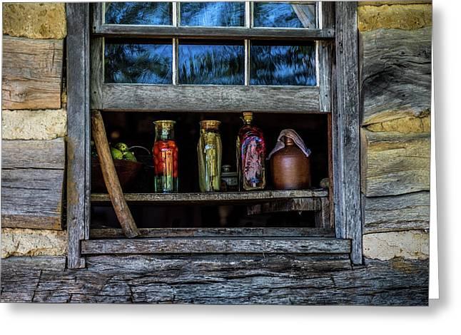 Log Cabin Window Greeting Card by Paul Freidlund