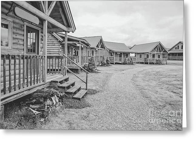 Log Cabins Black And White Charcoal Greeting Card by Edward Fielding
