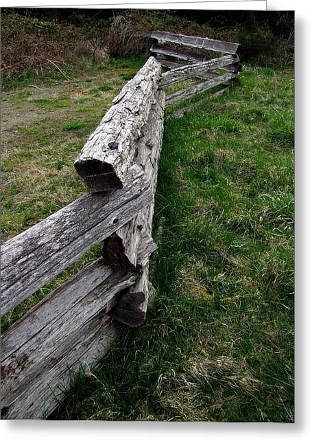 Log Fence Greeting Card by Ron Roberts