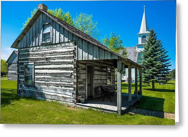 Log House With Veranda Greeting Card