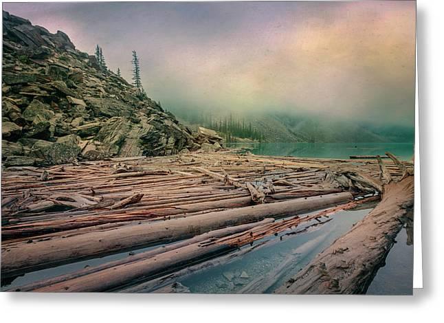 Log Jam At Moraine Lake Banff National Park Canada Greeting Card