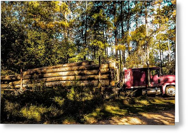 Log Truck Greeting Card by Leon Hollins III