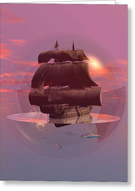 Mccoy Greeting Cards - Log wind SSE 5mph seas calm Greeting Card by Claude McCoy