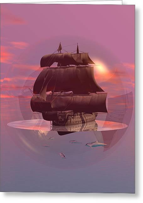 Log Wind Sse 5mph Seas Calm Greeting Card by Claude McCoy