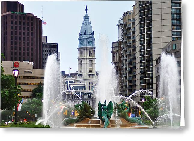 William Penn Greeting Cards - Logan Circle Fountain with City Hall in Backround Greeting Card by Bill Cannon