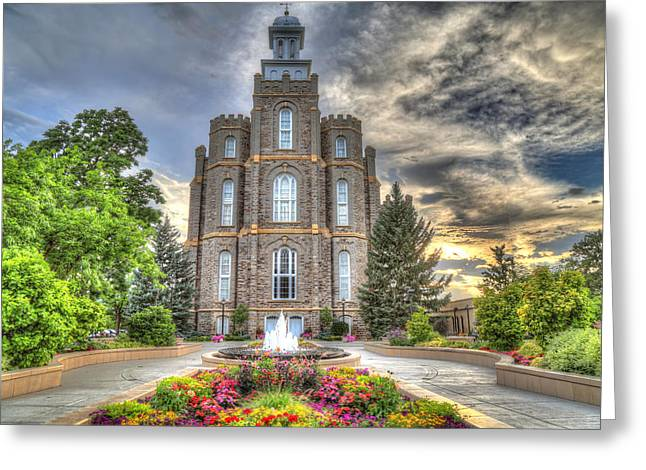 Logan L D S Temple 2 Greeting Card by Donna Kennedy