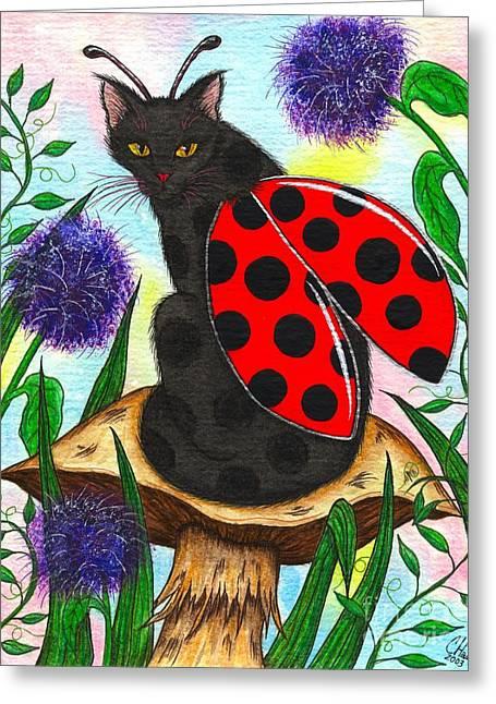 Logan Ladybug Fairy Cat Greeting Card