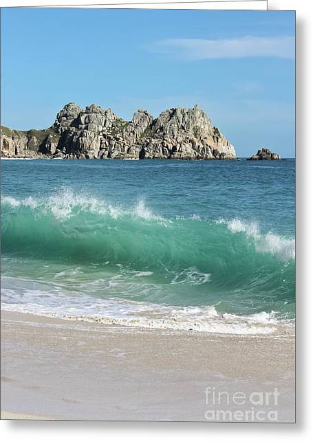 Greeting Card featuring the photograph Logan Rock Porthcurno Cornwall by Terri Waters