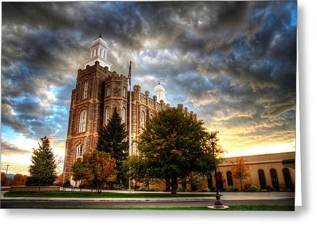Logan Temple Cloud Backdrop Greeting Card