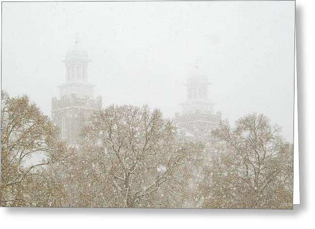 Logan Temple In Snow Greeting Card by Greg Collins