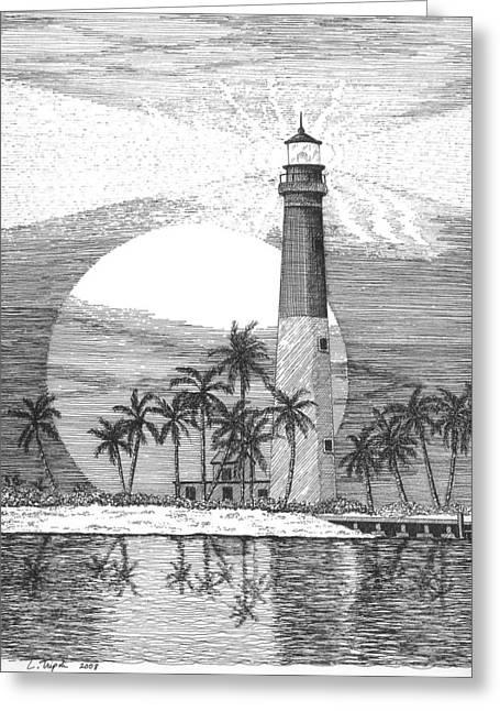 Loggerhead Key Lighthouse Greeting Card by Lawrence Tripoli