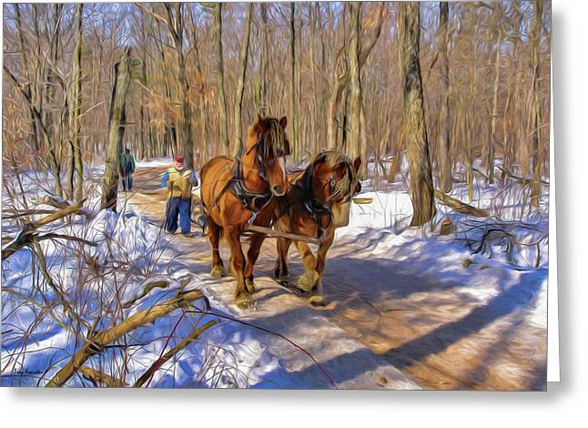 Logging Horses 1 Greeting Card by Trey Foerster