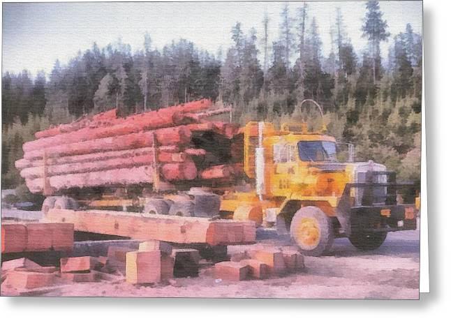 Logging Greeting Card by John Winner