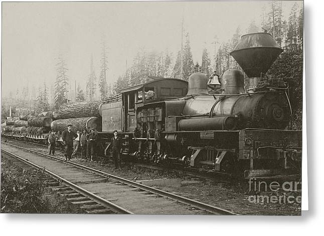 Logging Train Greeting Card by Kevin Felts