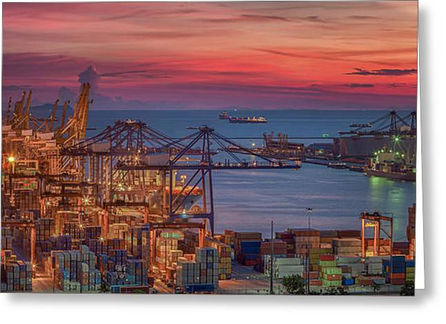 Logistic Port With Cargo Ship  Greeting Card by Anek Suwannaphoom