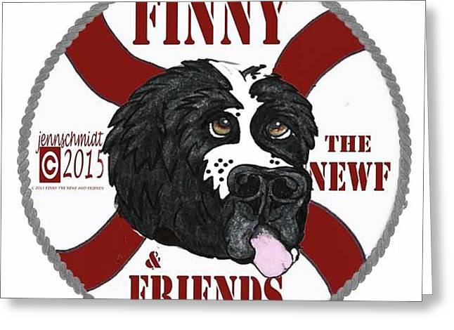Logo For Finny The Newf And Friends Greeting Card by Jenn Schmidt