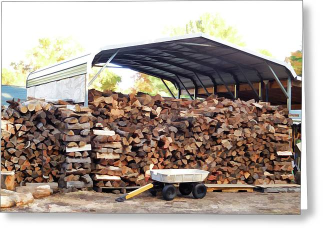 Logs Under Shed Greeting Card