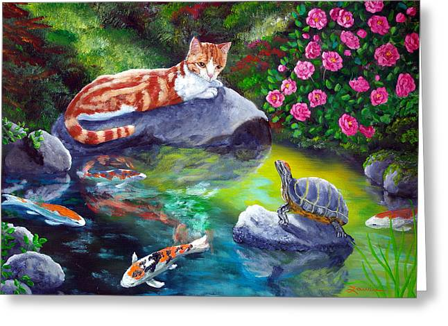 Orange Tabby Paintings Greeting Cards - Loki Meets a Turtle Greeting Card by Laura Iverson