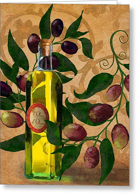 l'Olivo d'Oliva, Olives, Italian food Olive Oil kitchen art Greeting Card by Tina Lavoie