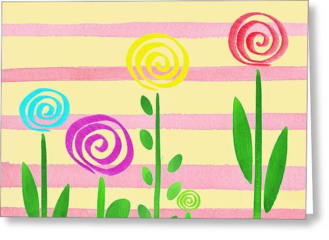 Lollipop Garden Greeting Card by Irina Sztukowski