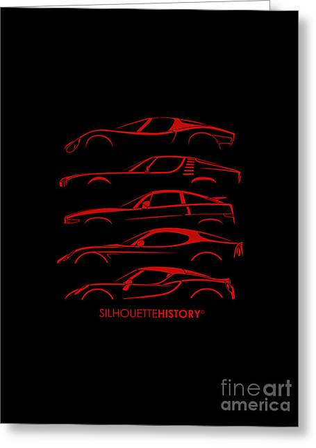 Lombard Sports Car Silhouettehistory Greeting Card
