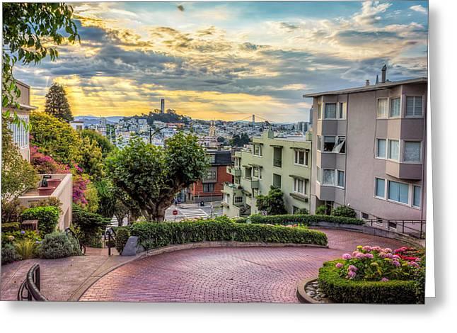 Lombard Street In San Francisco Greeting Card