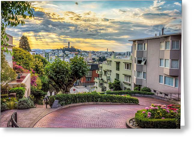 Lombard Street In San Francisco Greeting Card by James Udall