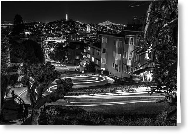 Lombard Street Streaking Black And White  Greeting Card