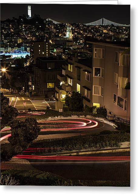 Lombard Street Streaking Color  Greeting Card