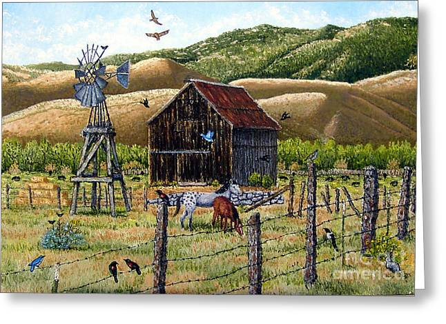 Lompa Valley Ranch Greeting Card by Santiago Chavez
