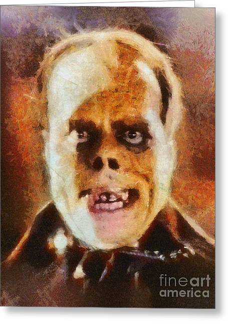 Lon Chaney Sr, As The Phantom Of The Opera Greeting Card by Mary Bassett