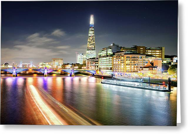 London At Night With Urban Architecture, Amazing Skyscraper And Boat At Thames River, United Kingdom Greeting Card