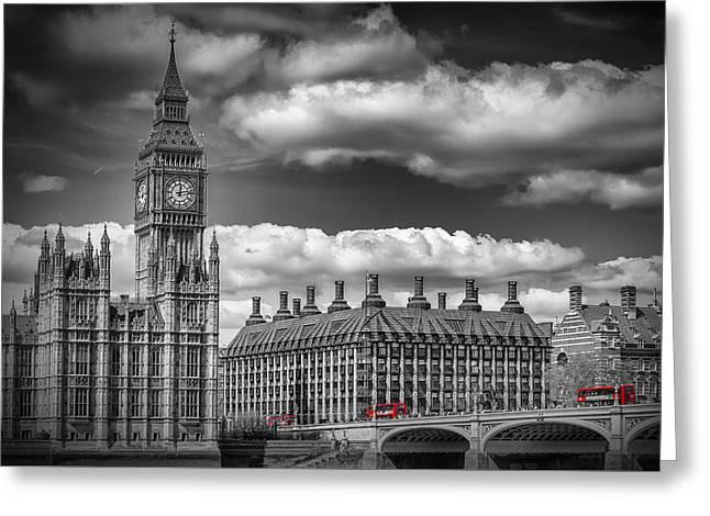 London Big Ben And Red Bus Greeting Card by Melanie Viola