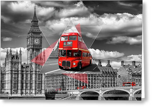 London Big Ben And Red Busses - Geometric Collage Greeting Card by Melanie Viola