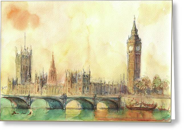 London Big Ben And Thames River Greeting Card