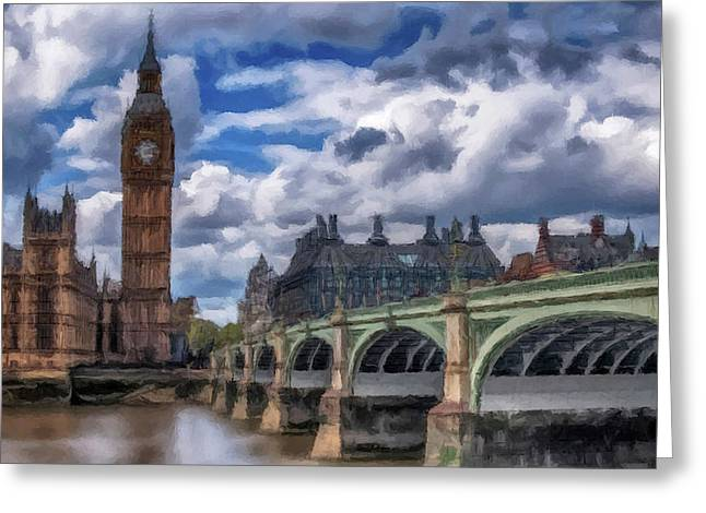 Greeting Card featuring the painting London Big Ben by David Dehner