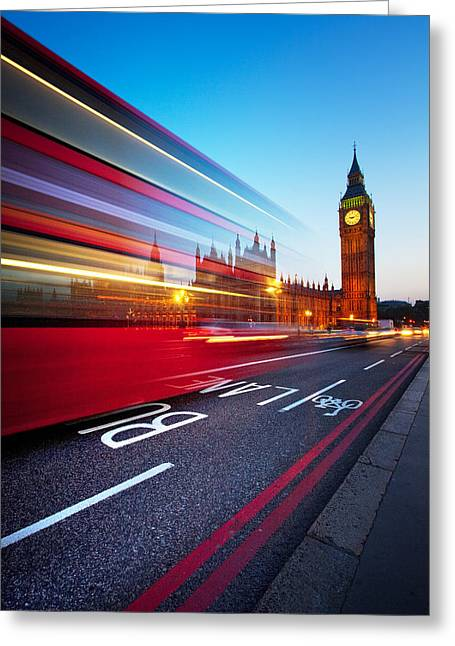Night Greeting Cards - London Big Ben Greeting Card by Nina Papiorek
