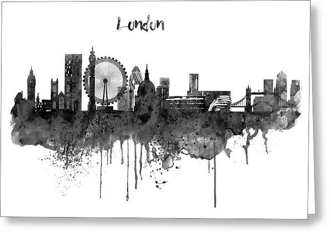 London Black And White Skyline Watercolor Greeting Card by Marian Voicu