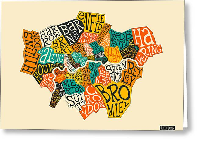 London Boroughs Map Typography Greeting Card